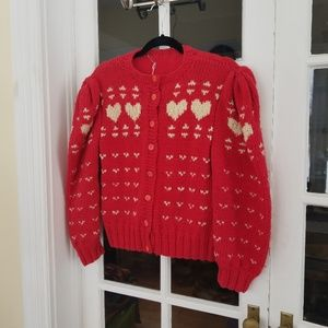 Vintage - Darling Hand Knit Heart Cardigan Sweater